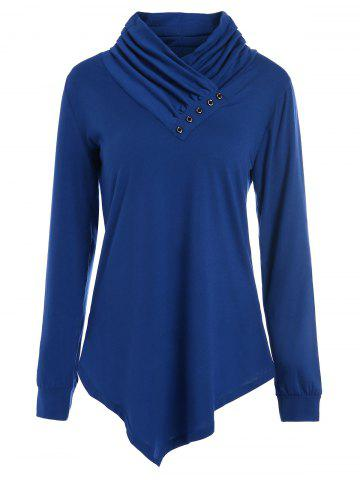 Store Buttons Long Sleeve Asymmetric Top - XL BLUE Mobile