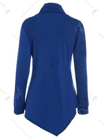Buy Buttons Long Sleeve Asymmetric Top - XL BLUE Mobile