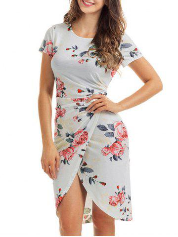 Slit Knotted Floral Dress - White - Xl