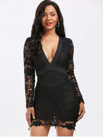 Store Plunging Neckline Backless Mini Lace Dress - S BLACK Mobile