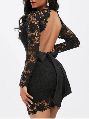 Plunging Neckline Backless Mini Lace Dress - Black - Xl