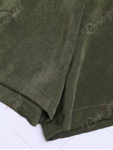 Trendy Casual Elastic Waist Self Tie Shorts - S ARMY GREEN Mobile