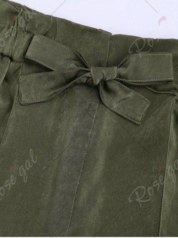 Fancy Casual Elastic Waist Self Tie Shorts - S ARMY GREEN Mobile