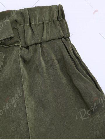 Outfits Casual Elastic Waist Self Tie Shorts - S ARMY GREEN Mobile