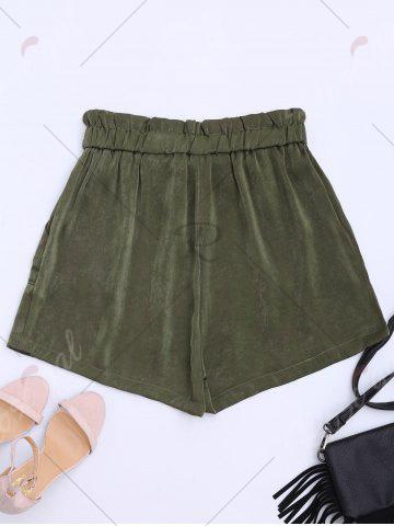 Trendy Casual Elastic Waist Self Tie Shorts - XL ARMY GREEN Mobile