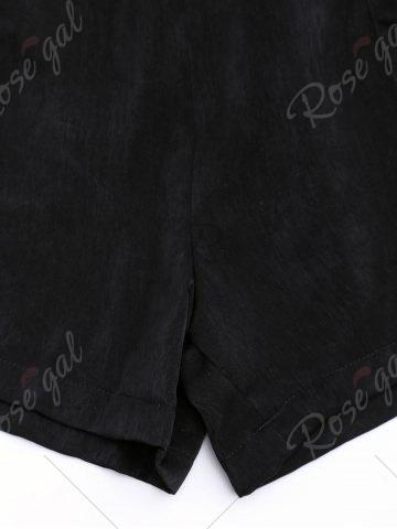 Outfits Casual Elastic Waist Self Tie Shorts - L BLACK Mobile
