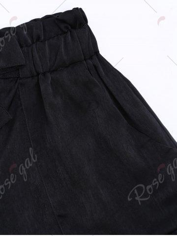 Latest Casual Elastic Waist Self Tie Shorts - M BLACK Mobile