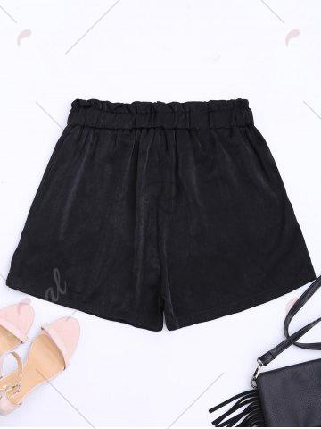 Chic Casual Elastic Waist Self Tie Shorts - M BLACK Mobile