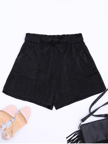 Sale Casual Elastic Waist Self Tie Shorts - M BLACK Mobile