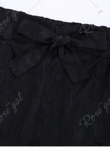 Outfits Casual Elastic Waist Self Tie Shorts - M BLACK Mobile