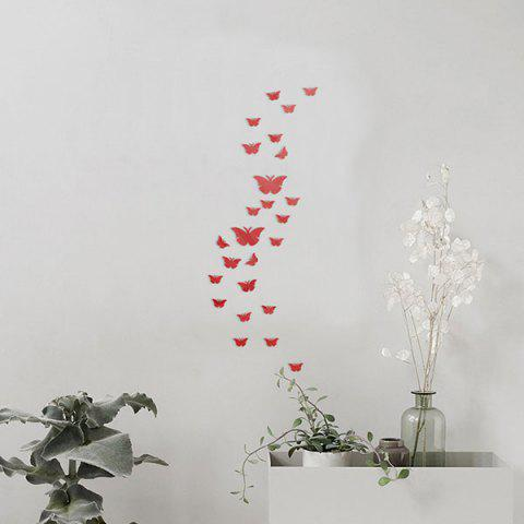 Cheap 25 PCS Butterflies Removable Mirror Wall Stickers RED