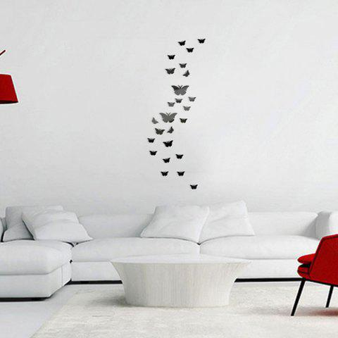 Sale 25 PCS Butterflies Removable Mirror Wall Stickers BLACK