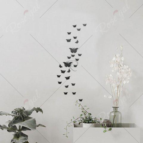 Chic 25 PCS Butterflies Removable Mirror Wall Stickers - BLACK  Mobile