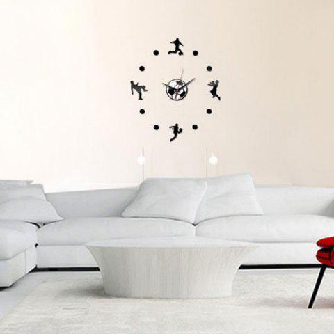 Latest Living Room DIY Football Personality Clock Wall Decal - BLACK  Mobile