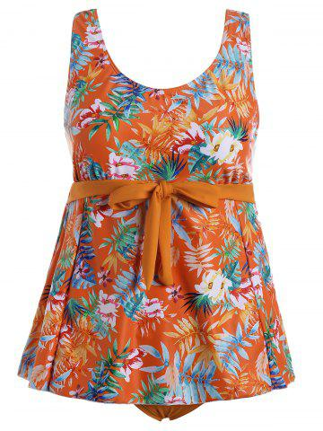Best Plus Size Tropical Print Padded Bathing Suit - 3XL ORANGE Mobile