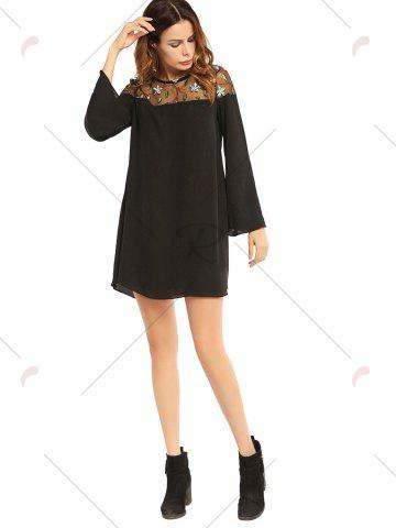 Online Embroidered Lace Trim Long Sleeve Chiffon Dress - M BLACK Mobile