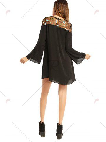 Buy Embroidered Lace Trim Long Sleeve Chiffon Dress - L BLACK Mobile