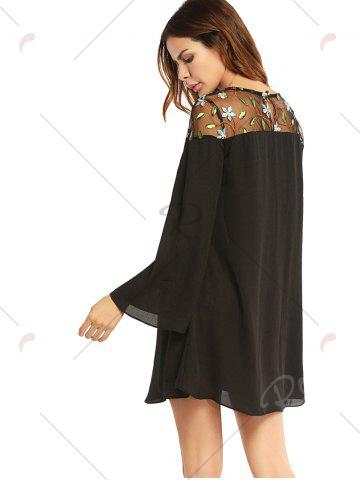 Online Embroidered Lace Trim Long Sleeve Chiffon Dress - L BLACK Mobile