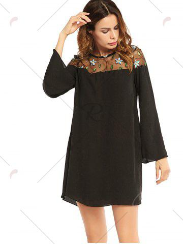 Online Embroidered Lace Trim Long Sleeve Chiffon Dress - XL BLACK Mobile