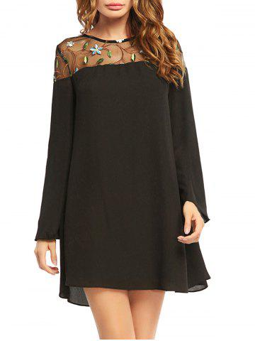 Online Embroidered Lace Trim Long Sleeve Chiffon Dress - 2XL BLACK Mobile