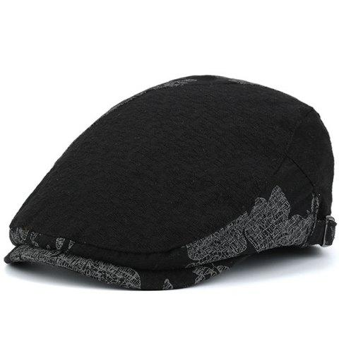 Discount Adjustable Leaf Pattern Embellish Newsboy Cap BLACK