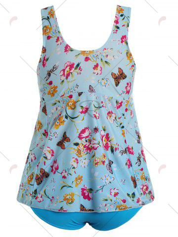 Best Butterfly Floral Print Padded Plus Size Bathing Suit - 2XL LIGHT BLUE Mobile