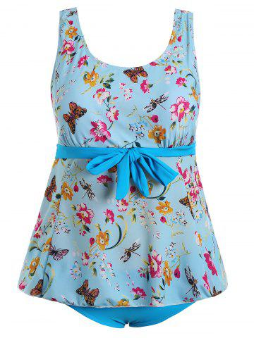 Butterfly Floral Print Padded Plus Size Bathing Suit - Light Blue - 3xl