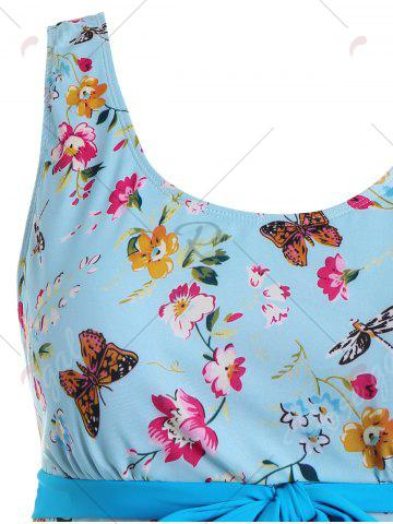 Sale Butterfly Floral Print Padded Plus Size Bathing Suit - 3XL LIGHT BLUE Mobile