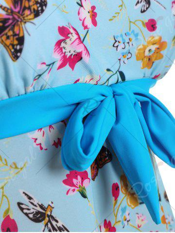 Chic Butterfly Floral Print Padded Plus Size Bathing Suit - 3XL LIGHT BLUE Mobile