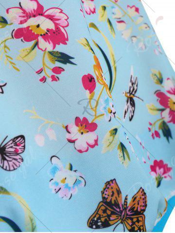 Latest Butterfly Floral Print Padded Plus Size Bathing Suit - 3XL LIGHT BLUE Mobile