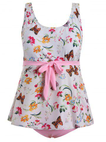 Shops Butterfly Floral Print Padded Plus Size Bathing Suit - 2XL PINK Mobile