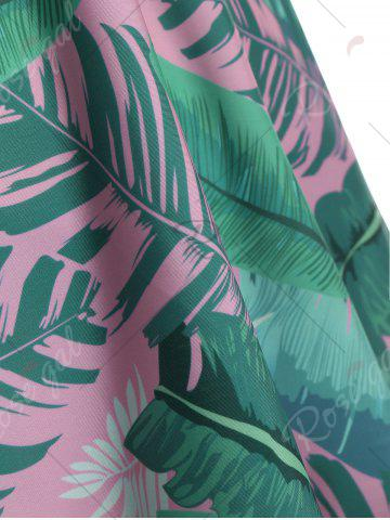 Fashion Tropical Palm Leaf Print Padded Plus Size Tankini Set - 2XL PINK Mobile