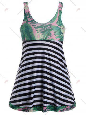 Latest Tropical Palm Leaf Print Padded Plus Size Tankini Set - 2XL PINK Mobile