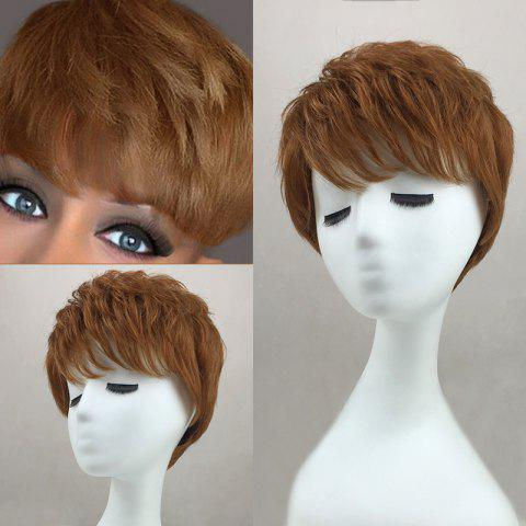 Fashion Inclined Bang Layered Short Slightly Curly Human Hair Wig - AUBURN BROWN #30  Mobile