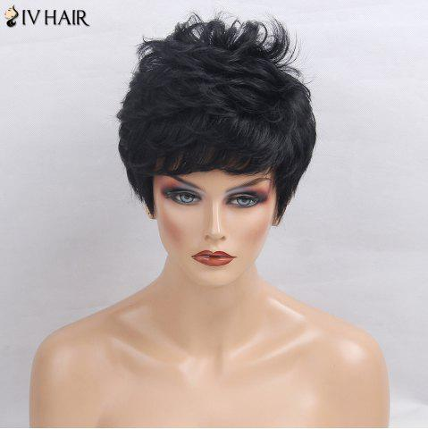 Cheap Siv Hair Side Bang Layered Short Textured Slightly Curly Human Hair Wig - JET BLACK 01#  Mobile