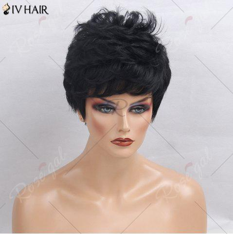 Online Siv Hair Side Bang Layered Short Textured Slightly Curly Human Hair Wig - JET BLACK 01#  Mobile