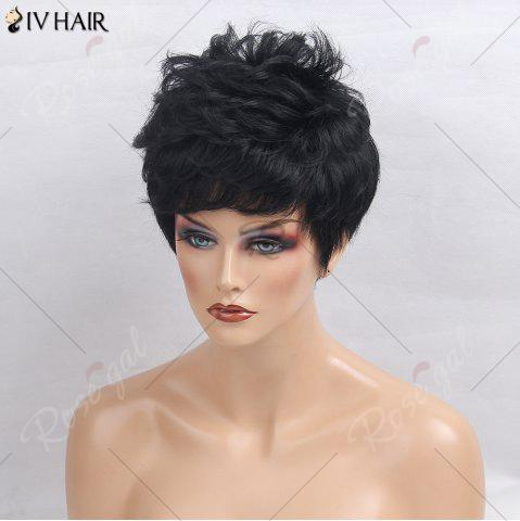Sale Siv Hair Side Bang Layered Short Textured Slightly Curly Human Hair Wig - JET BLACK 01#  Mobile