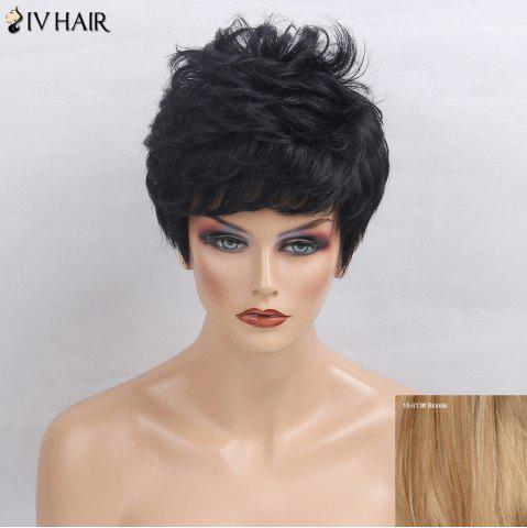 Sale Siv Hair Side Bang Layered Short Textured Slightly Curly Human Hair Wig - BLONDE  Mobile