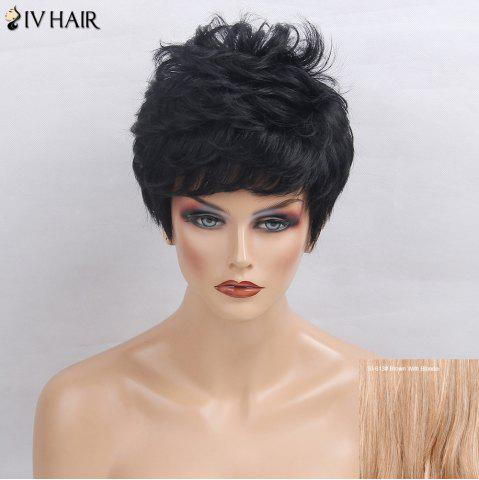 Online Siv Hair Side Bang Layered Short Textured Slightly Curly Human Hair Wig - BROWN WITH BLONDE  Mobile
