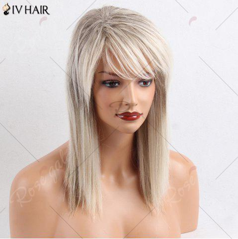 New Siv Hair Medium Side Bang Straight Colormix Human Hair Wig - COLORMIX  Mobile