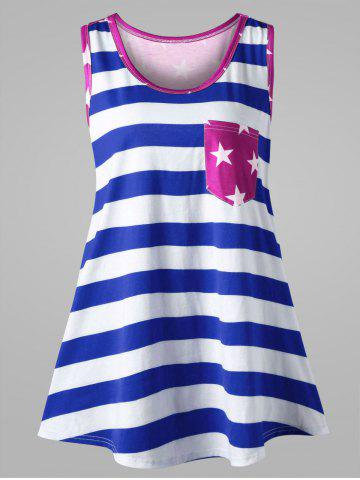 Fashion Plus Size Bowknot Embellished American Flag Tank Top