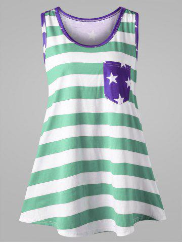 Trendy Plus Size Bowknot Embellished American Flag Tank Top