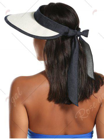 Latest Wide Brim Bowknot Band Open Top Straw Hat - OFF-WHITE  Mobile