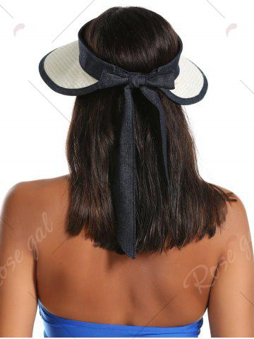 Chic Wide Brim Bowknot Band Open Top Straw Hat - OFF-WHITE  Mobile