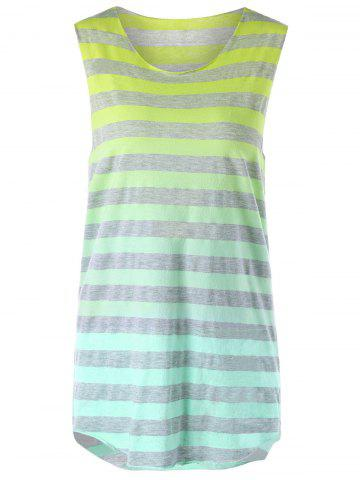 Fashion Sleeveless Ombre Striped T-shirt - M YELLOW Mobile