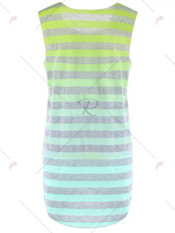Cheap Sleeveless Ombre Striped T-shirt - M YELLOW Mobile