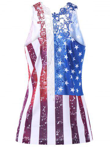 Discount Plus Size Lace Panel American Flag T-shirt