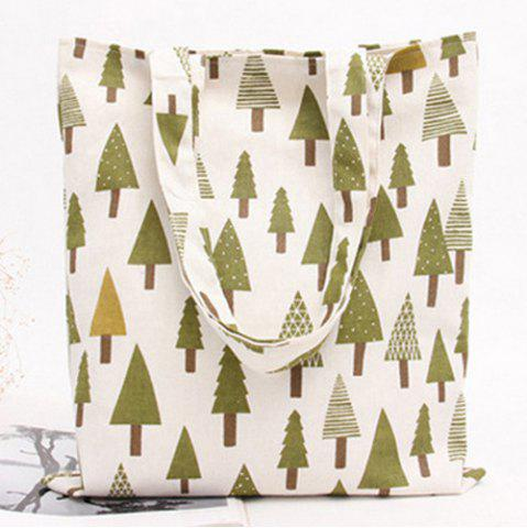 Chic Canvas Printed Shopper Bag - GREEN  Mobile