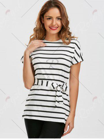Affordable Stripe Tunic Tee - S WHITE Mobile