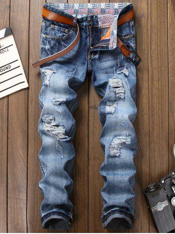 Bleach Wash Zipper Fly Faded Ripped Jeans Bleu 34